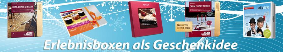 Erlebnisboxen im Ueberblick - Hier erhalten Sie Infos zu Geschenkboxen verschiedener Eventportale.